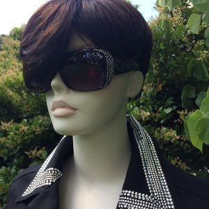 Black Christine Alexander rhinestone jean jacket